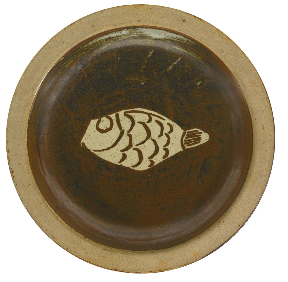 Bernard Leach-A Large Dish With Fish Motif-1960