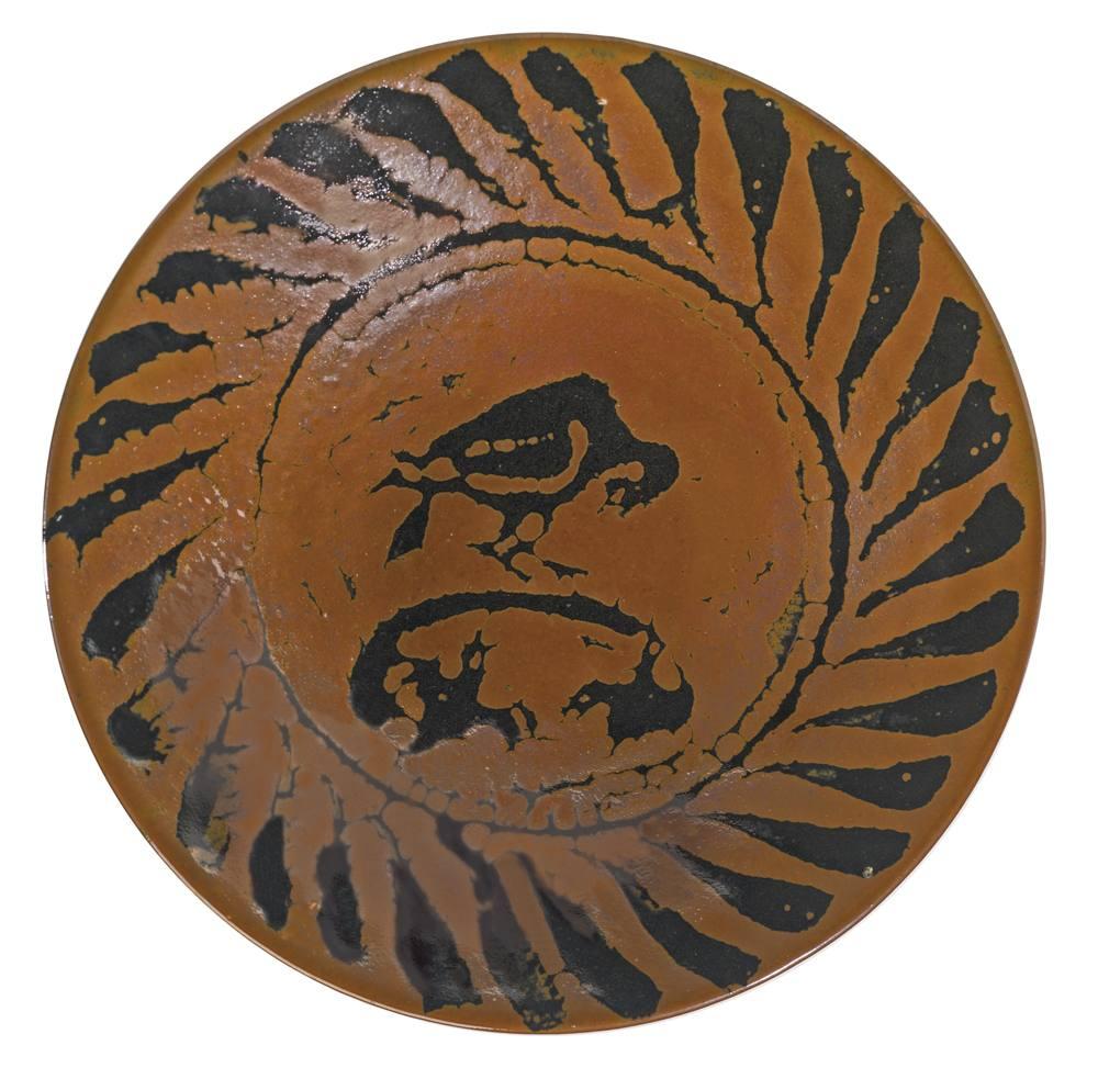 Bernard Leach-A Large Plate With Bird Motif-1960