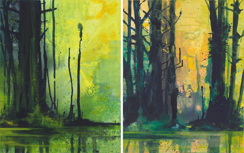 Bernd Zimmer - Erle, 2011 - Waldspiegel II, 2012 price kunst auction canvas