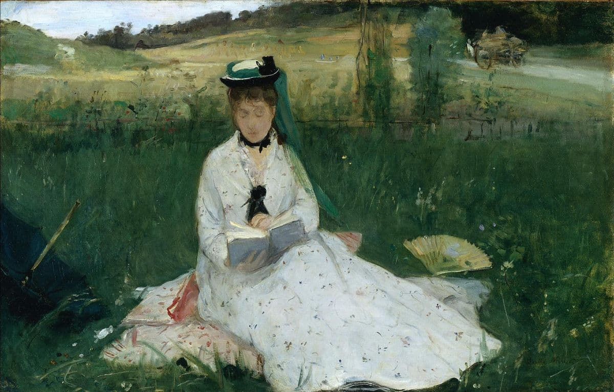 Berthe Morisot - Reading (The Green Umbrella), 1873