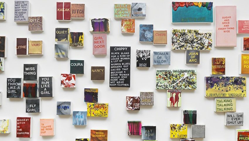 Betty Tompkins - WOMEN Words, Phrases, and Stories, installation view, gallery