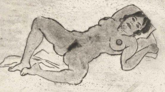 Betty auf dem Rücken liegend, Beine gespreizt By Georg Tappert ,1913