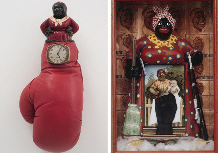 Betye Saar - Sock it to 'Em, 2011 (left) -The Liberation of Aunt Jemima,1972 (right) - images via wow.sportsmax.com.jpg