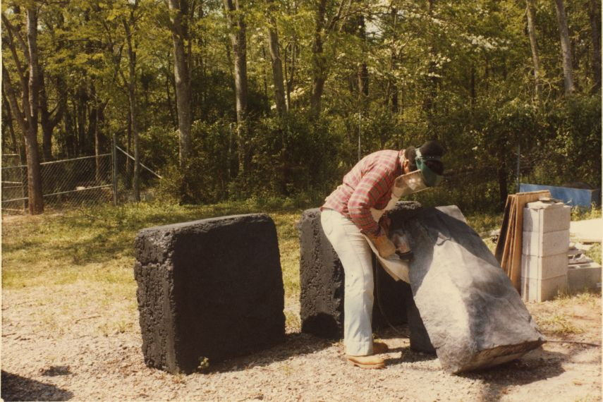 Beverly Buchanan - Photo of the artist working on Unity Stones - Image via rhizomesnet