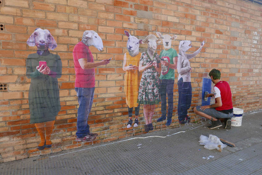 Bifido - Working on a new mural War Pigs in Penelles, Catalonia, Spain, 2016
