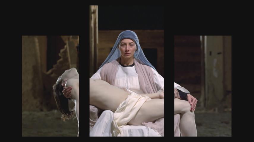 Bill Viola,Mary, 2016, video triptych; Executive Producer, Kira Perov; Photo courtesy Blain|Southern