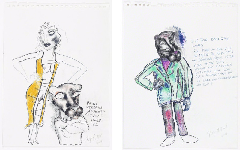 Bjarne Melgaard - Untitled (Fashion Drawings), 2014, gallery oslo museum works
