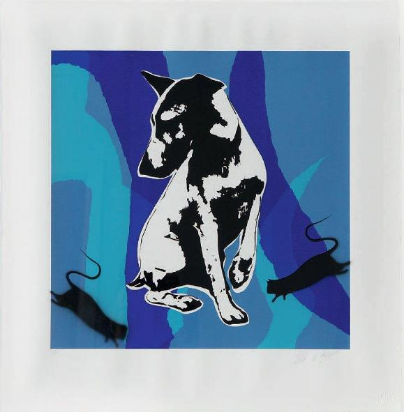 Blek Le Rat - His Master's Voiceless (Blues), 2009 (73 x 72 cm)
