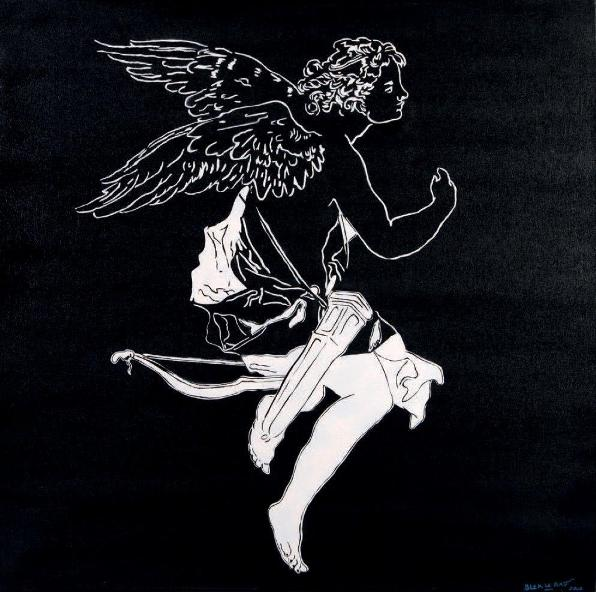 Blek Le Rat - Untitled (Angel), 2006 (79.4 x 79.4 cm)