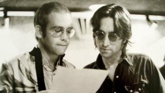Bob Gruen - Elton John and John Lennon At Record Plant New York, 1972 (detail)