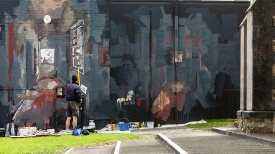 Borondo - intervention in Albany (AUS) for PUBLIC 2016, photo Bewley Shaylor