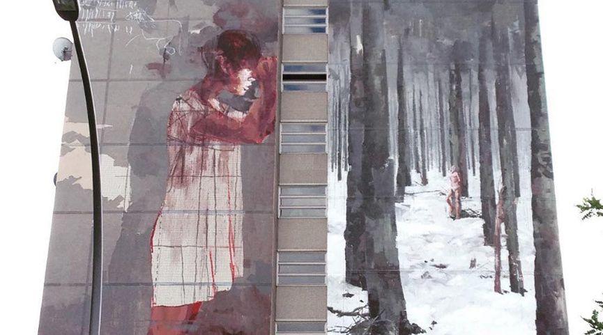 june in spain and france Borondo mural