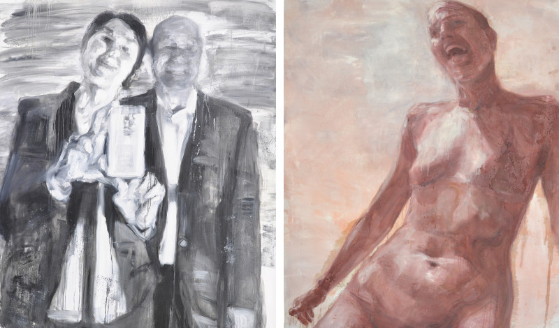 Bozena Bosko - Tux selfie, 2015 (left), Palm Beach, 2015 (right)