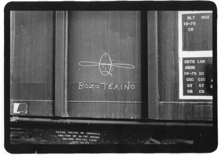 Bozo Texino Graffiti, Image courtesy of Bill the train painter, here for some interesting interviews