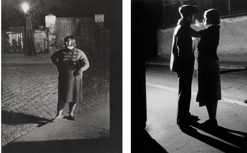 Brassai - Prostitute in the Quartier Italie, 1932 (Left) --- Lovers under a street lamp, 1929 (Right) - Brassaï photographs of the city are pieces of arts both for a photographer and a published book