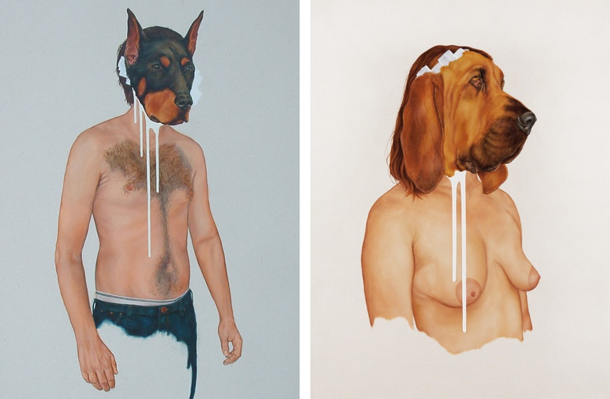 Brian Donnelly - Doberman (Tribute to the breeder) (left) , 2008, Bloodhound Graft (detail) (right), 2011