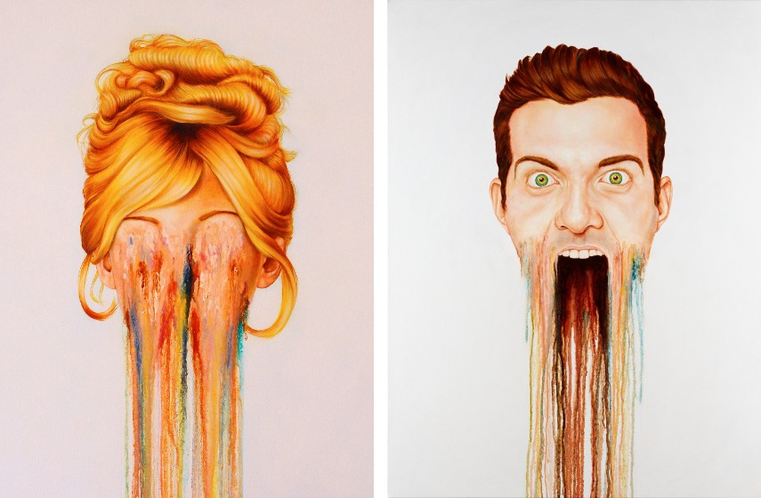 Brian Donnelly - Heavy Lies the Crown (detail) (left) , 2015, D.I.L.L.I.G.A.F. (detail) (right), 2015