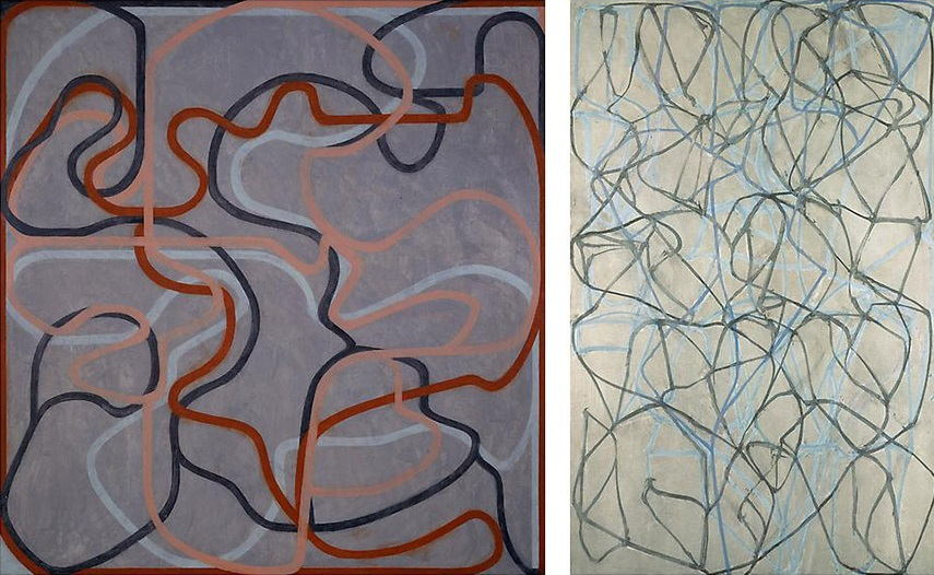 Brice Marden - Epitaph Painting 5, 1997-2001 (Left) / The Studio, 1990 (Right) american gallery