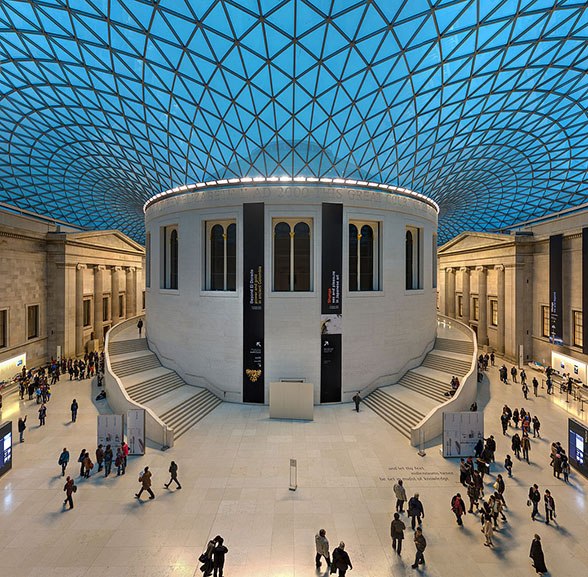 An ultra-wide rectilinear stitched panorama of the Great Court of the British Museum in London, United Kingdom, by David Iliff