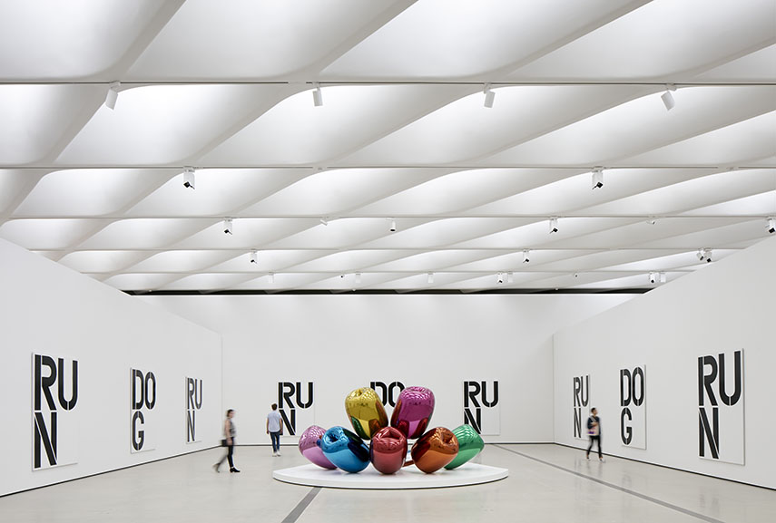 Installation of works by Christopher Wool and Jeff Koons in The Broad's third-floor galleries. Photo by Bruce Damonte, courtesy of The Broad and Diller Scofidio + Renfro museum arts 2016 center culture march arts opening music home collection