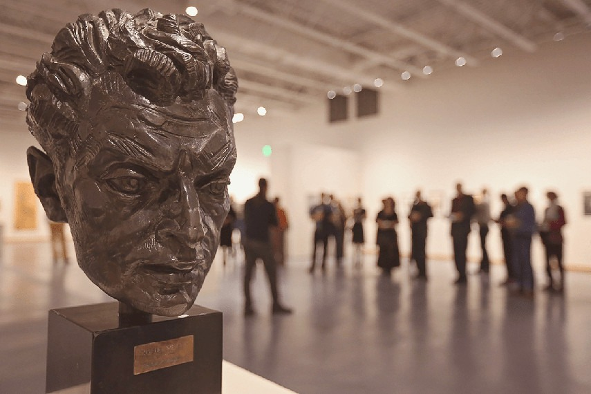 Bronze sculpture by Robert I. Russin on display at the Nicolaysen Art Museum