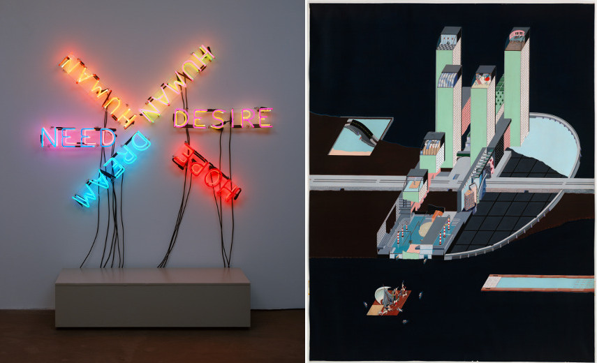 Bruce Nauman (American, born 1941) HumanNeedDesire 1983 and OMA (Office for Metropolitan Architecture) Welfare Palace Hotel Project