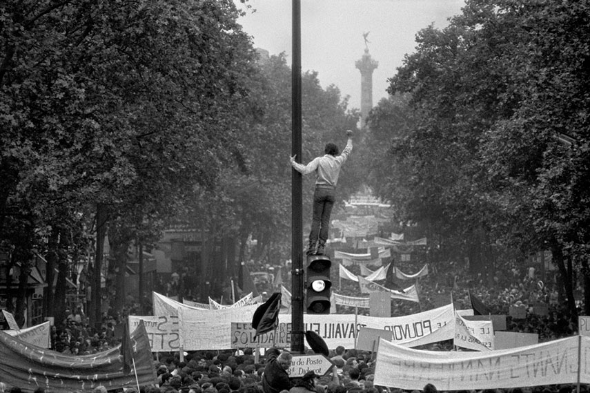One million demonstrators walking towards the Place de la Bastille, May 13th, 1968