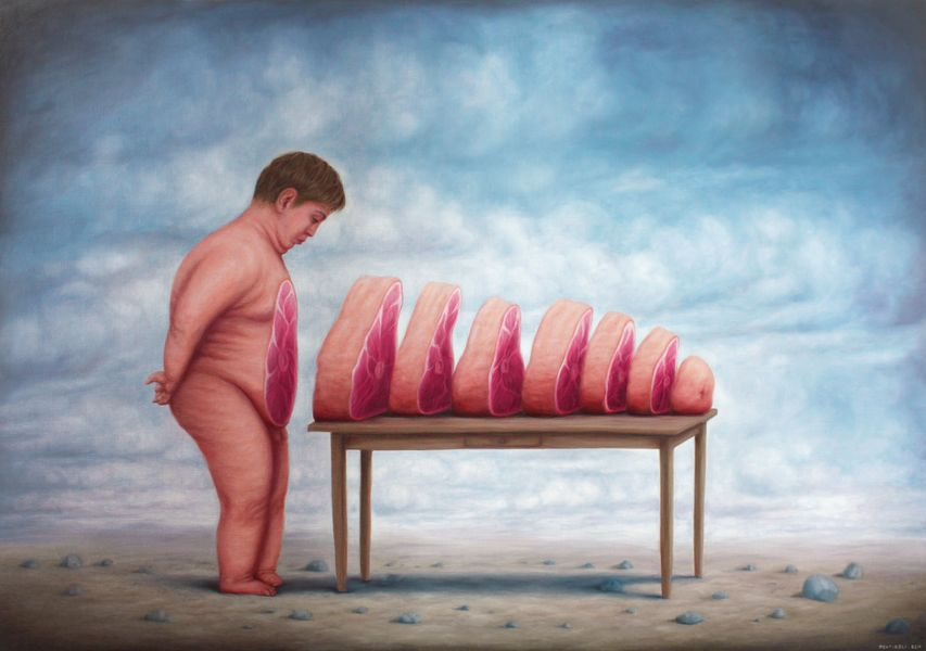 pontiroli is a contemporary artist who depicts surreal life as seen in 2014 ad 2016 shows