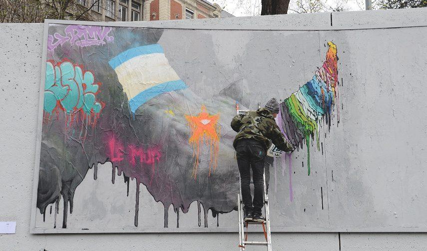 Brusk working on Streetocéros, for Le MUR de St Etienne (3)