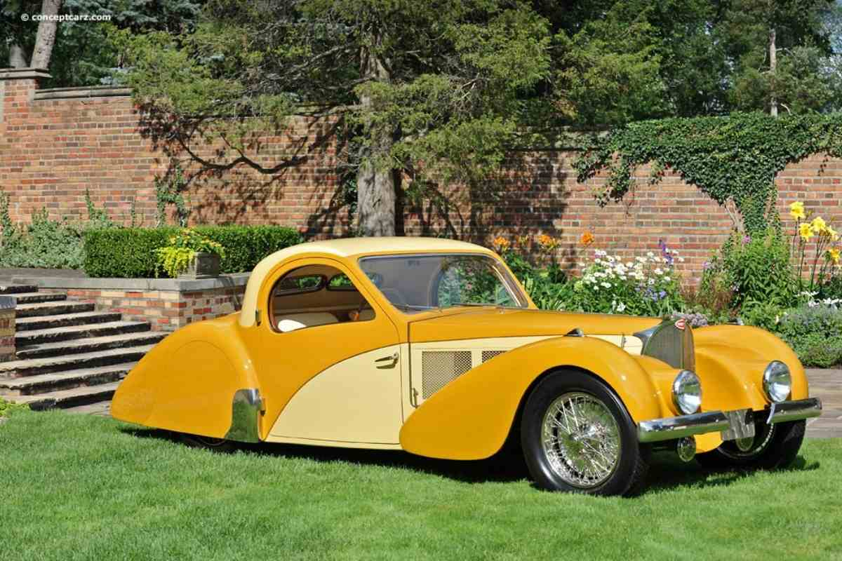 Art Deco patterns and shapes were also used in the industry, like in the example of Bugatti Type 57SC (1937)