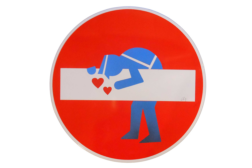 travel to see clet's new signs that can be found in the city of paris as well as italy