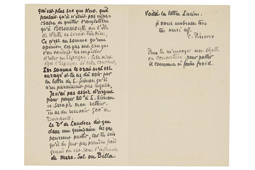 Camille Pissarro letter to Julie Pissarro