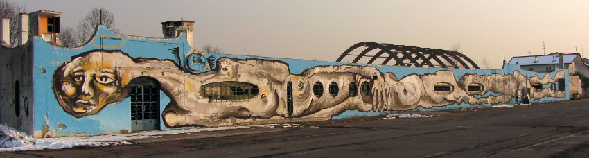 Canemorto - 230 foot (70 meter) mural in North Italy - city - new graffiti photos - artist canemorto