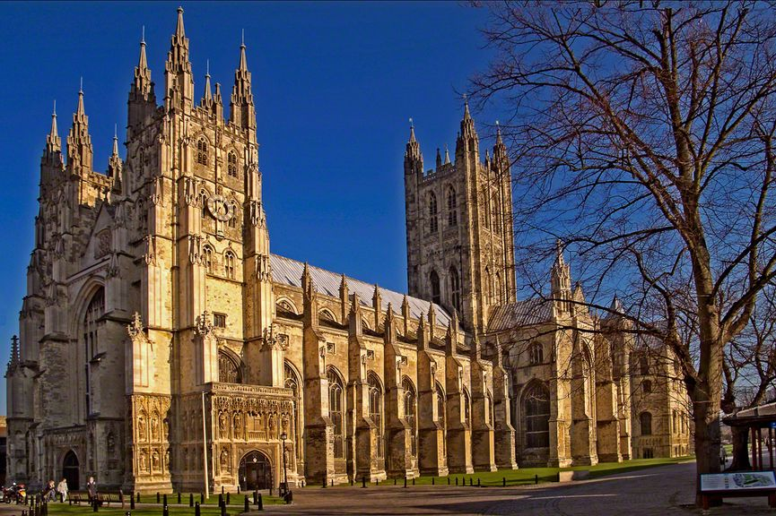 Canterbury Cathedral, showing a clear change from Romanesque to Gothic