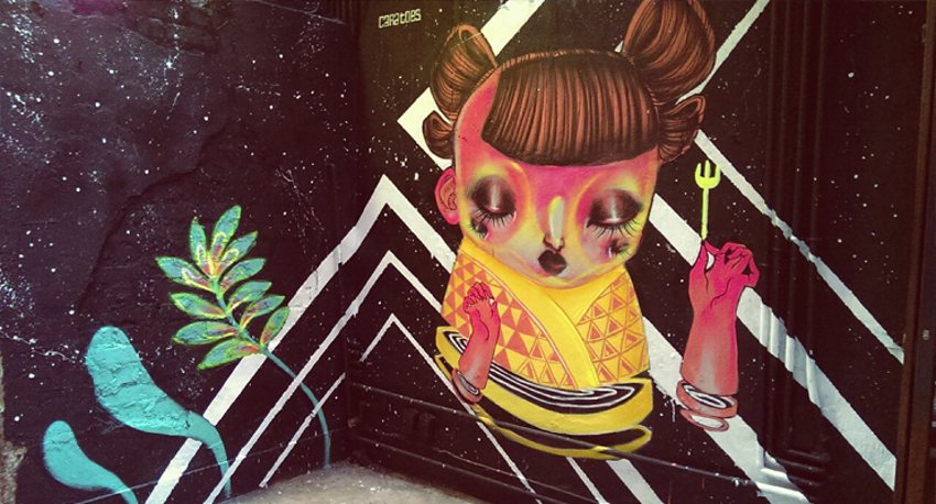 Caratoes - mural in Fatty Crab Restaurant - 2014 - just graffiti - gallery