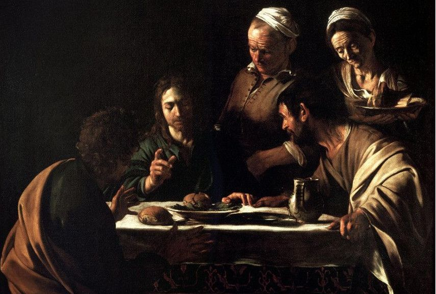 Caravaggio – Supper at Emmaus, work from 1606 -1610, officialy from 1606 – Image via arthistoryproject.com