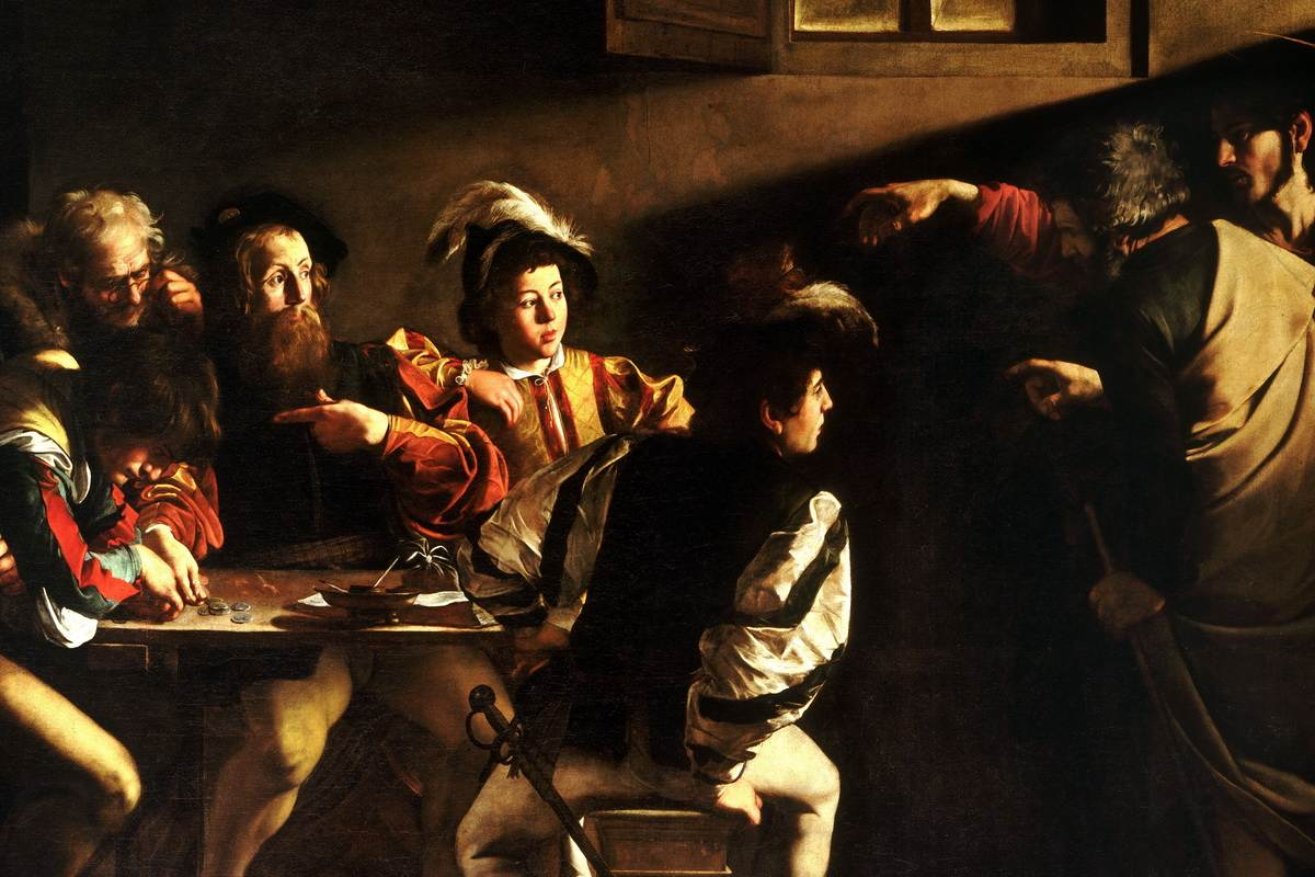 Caravaggio famous paintings - The Calling of Saint Matthew painting detail
