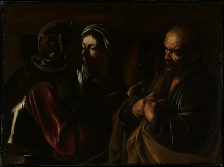 Caravaggio - The Denial of Saint Peter, 1610 - image via metmuseumorg, work on paintings of saint John and Virgin painted in Rome and Naples in 1610