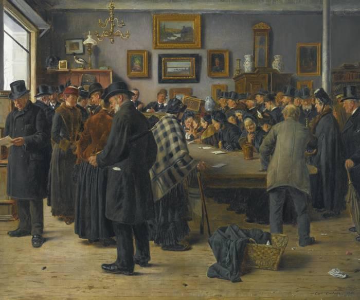 Carl Christian Edvard Otto Carlsen-In The Auction House-1891