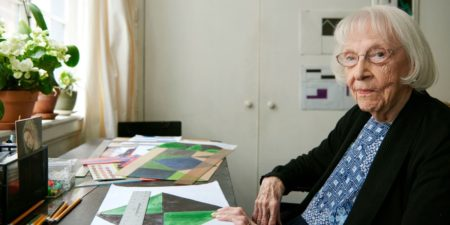 Carmen Herrera - The artist in her New York studio, in Lisson museum - Image via netdnacom - whitney museum has news to save time for painting search