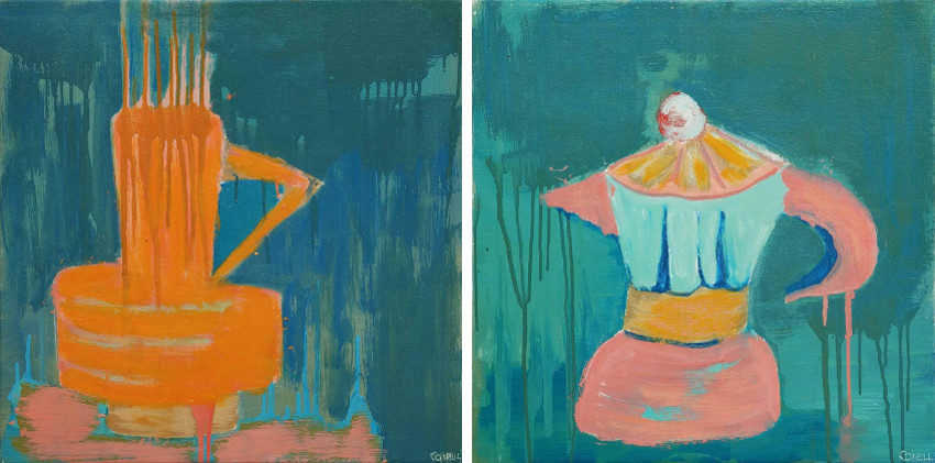 Carolyn O'Neill - Burnt Orange Vase, 2015 - Pink Espresso Pot, 2015