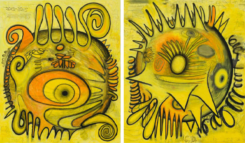 "Carroll Dunham - Big Bang (actual size) 2, 2013–15 (Left) - Big Bang (actual size) 3, 2013-15 (Right) "" american untitled inches gladstone"