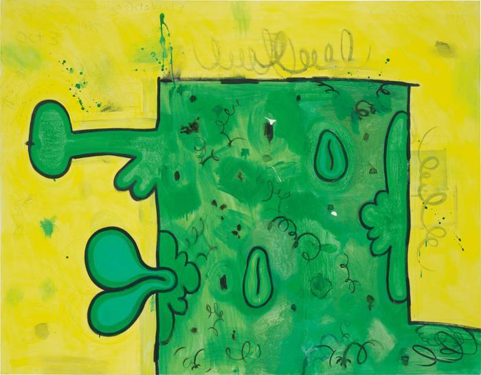 Carroll Dunham-Green Box in Yellow Field-1995