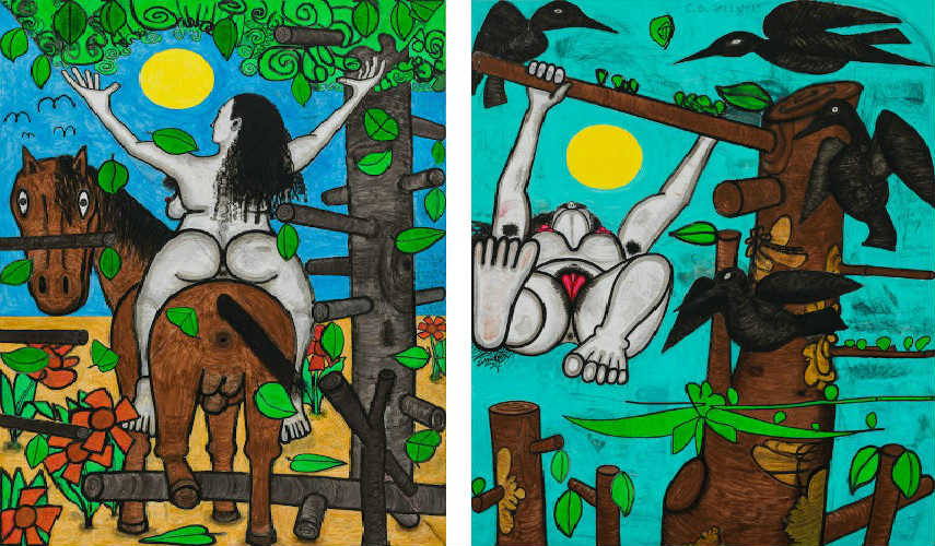 "Carroll Dunham - Horse and Rider (My X), 2013–15 (Left) - Game, 2013–15 (Right) "" american untitled inches gladstone"