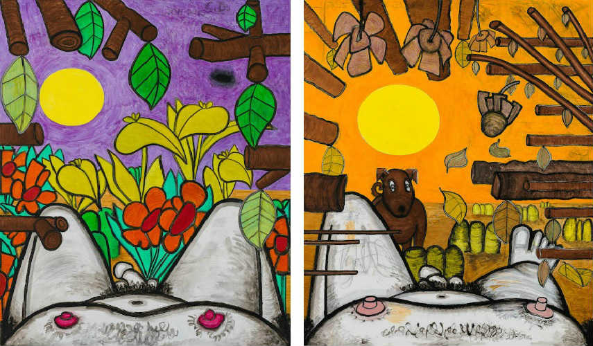 Carroll Dunham - Now and Around Here (1), 2011–15 (Left) - Now and Around Here (3), 2015 (Right)