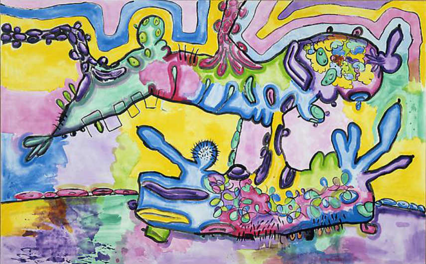 "paintings gallery "" 2009 Carroll Dunham - Shape with puddle, 1990 inches gladstone gallery 2008 american works contact untitled"