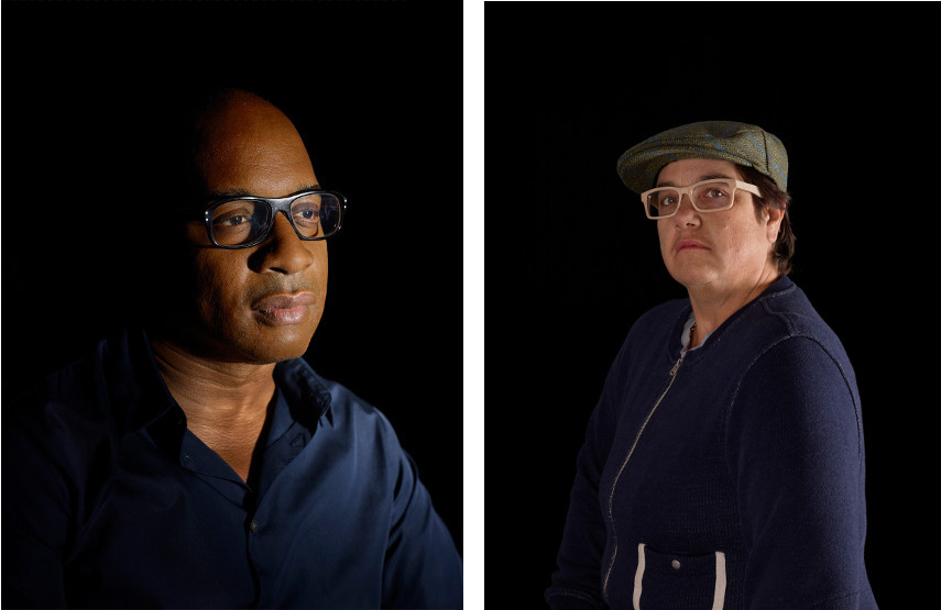 Catherine Opie - Glenn, 2013 (left), Self-portrait, 2013 (right) - New York and Los Angeles community suports just projects landscape portraits, unlike museum artist in Ohio.