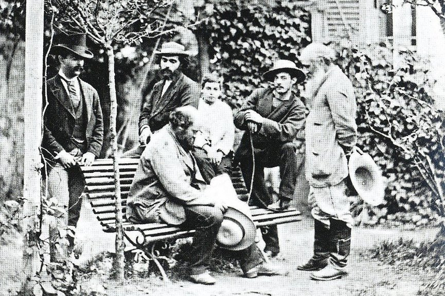 Cezanne and Pissarro with friends in Pontoise 1870s