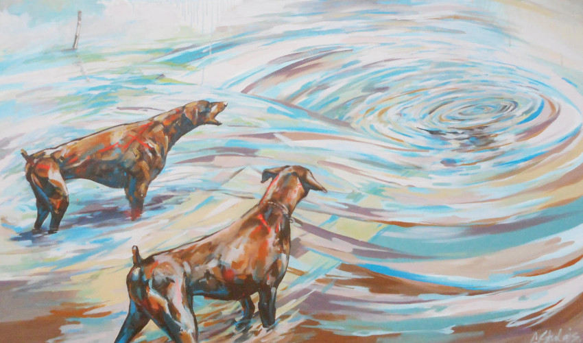 Cezary Stulgis - Dogs in the Lake, 2014 (detail), exhibitions are often cruel