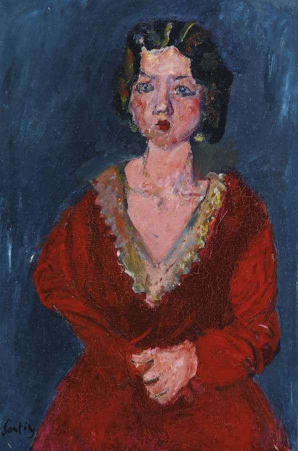 Chaim Soutine-La Femme En Rouge Sur Fond Bleu-1928